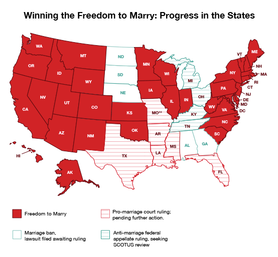 Progress of marriage equality map