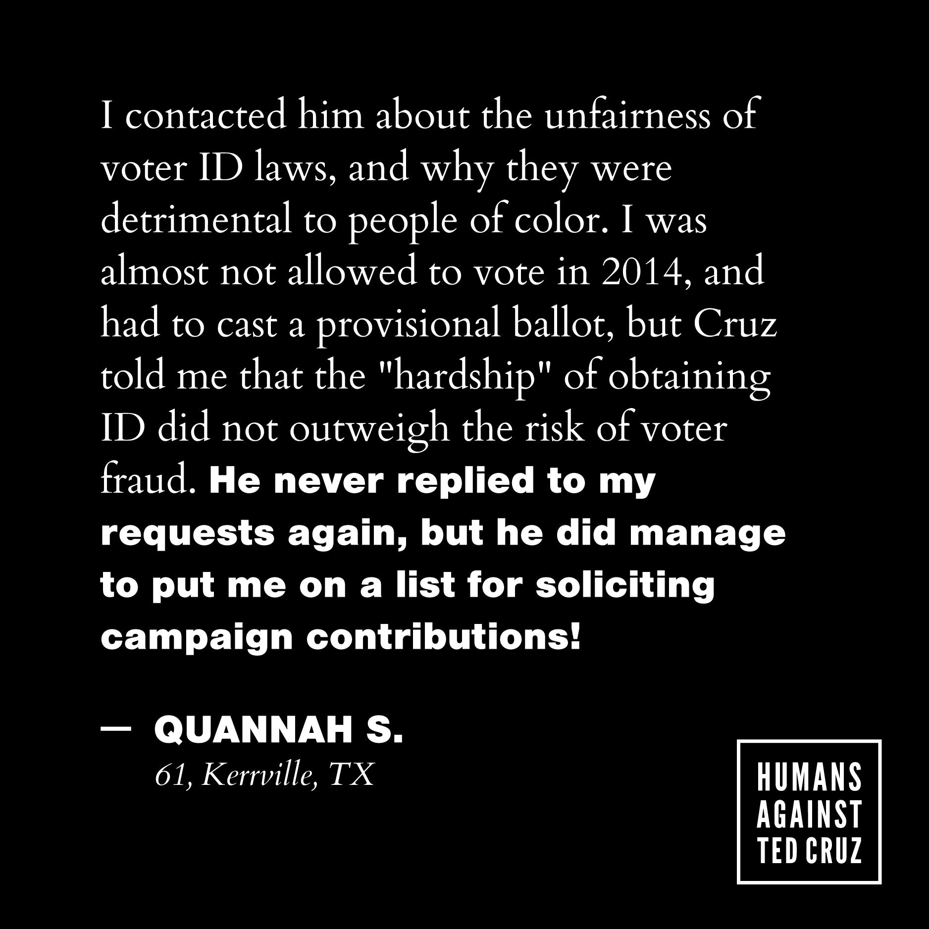 Humans Against Ted Cruz Quannah