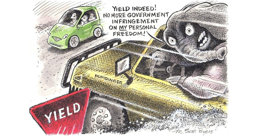 "Texas vaccines - ""Yield indeed! No more government infringement on MY personal freedom!"" - Political cartoon"